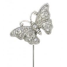 Alfileres de novia mariposa plateada