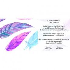 Invitaciones boda plumas
